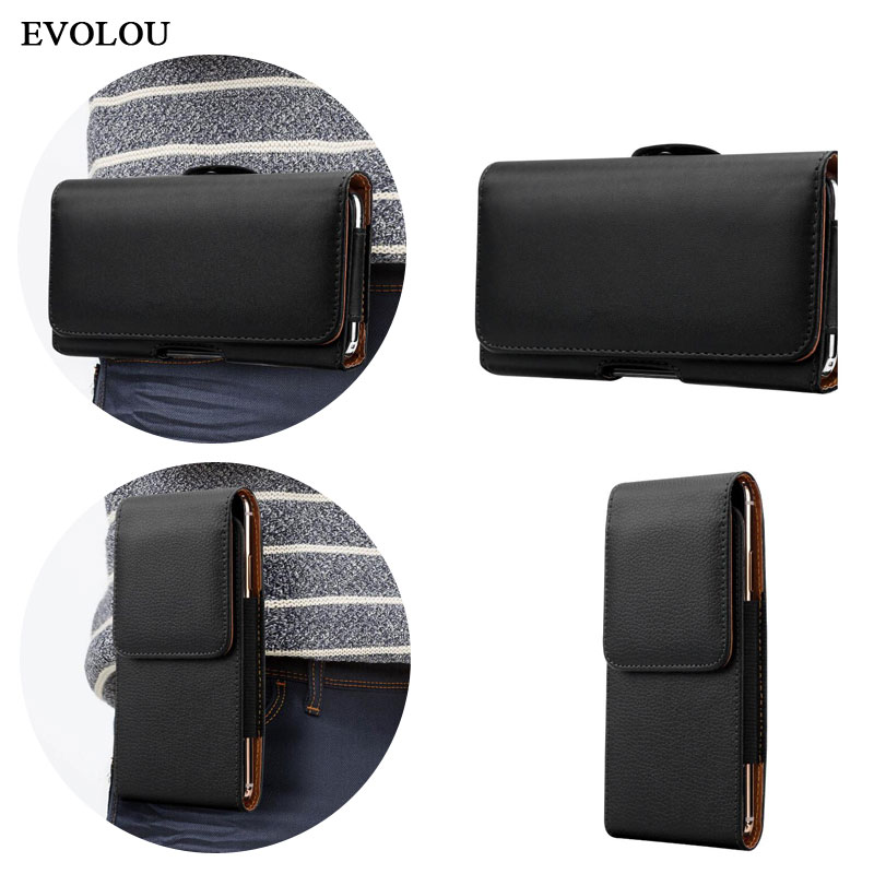 Universal Casual Leather Phone Pouch With Holster Bag Belt For Mobile Phones 5