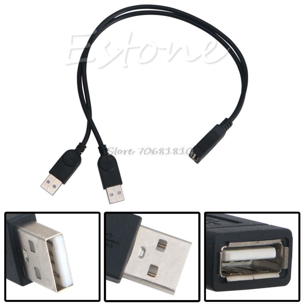New USB 2.0 FeMale to 2 Dual male Jack Y Splitter Hub Cord Adapter Cable 30cm #K400Y# DropShip usb 2 0 male to 2 dual usb female hub data transfer cable power cable y splitter computer usb otg charging cable adapter hy319
