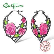 SANTUZZA Silver Earrings For Women 925 Sterling Silver Rose Flower Dangle Earrings Cubic Zirconia brincos Fashion Jewelry Enamel