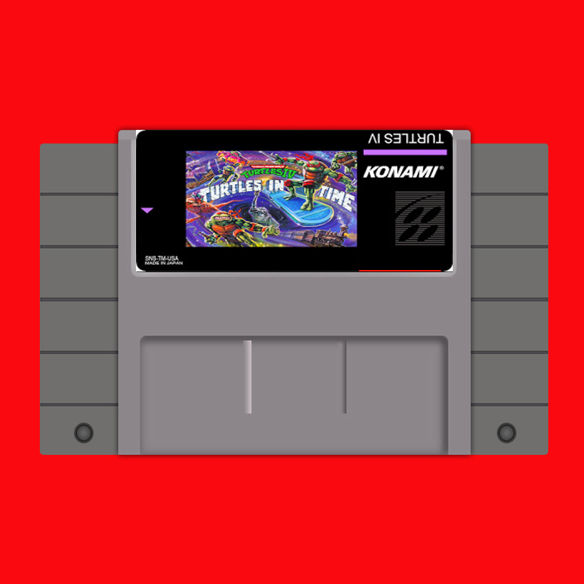 Turtles in Time 16 bit Big Gray Game Card For USA NTSC Game Player