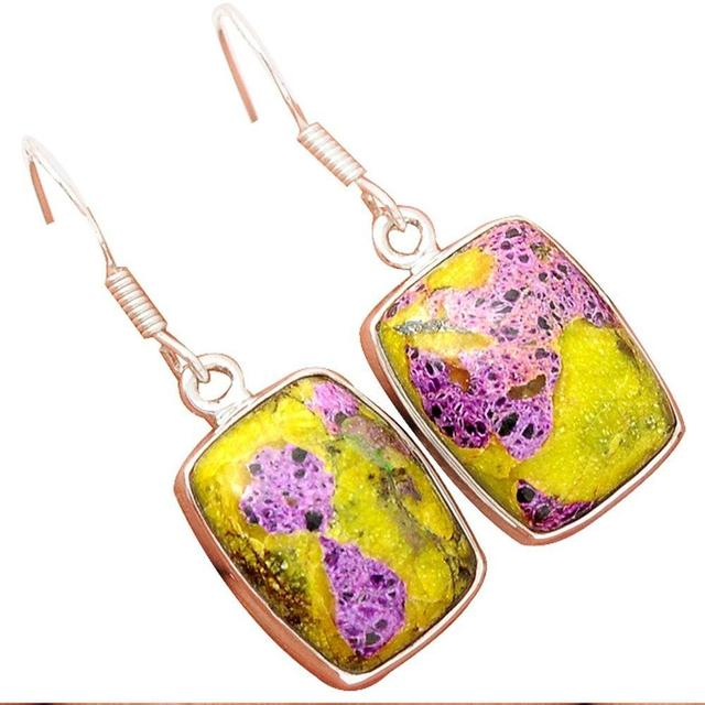 Genuine Stichtite Earrings 925 Sterling Silver,35mm, AE1010