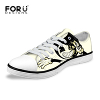 ELVISWORDS Fashion Cartoon Men S Low Style Vulcanized Shoes Bendy And The Ink Machine Printed Men