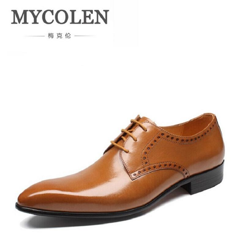 все цены на MYCOLEN Autumn Men Flats High Quality Leather Shoes sapato masculino social Men British Fashion Business Dress Shoes Oxfords онлайн