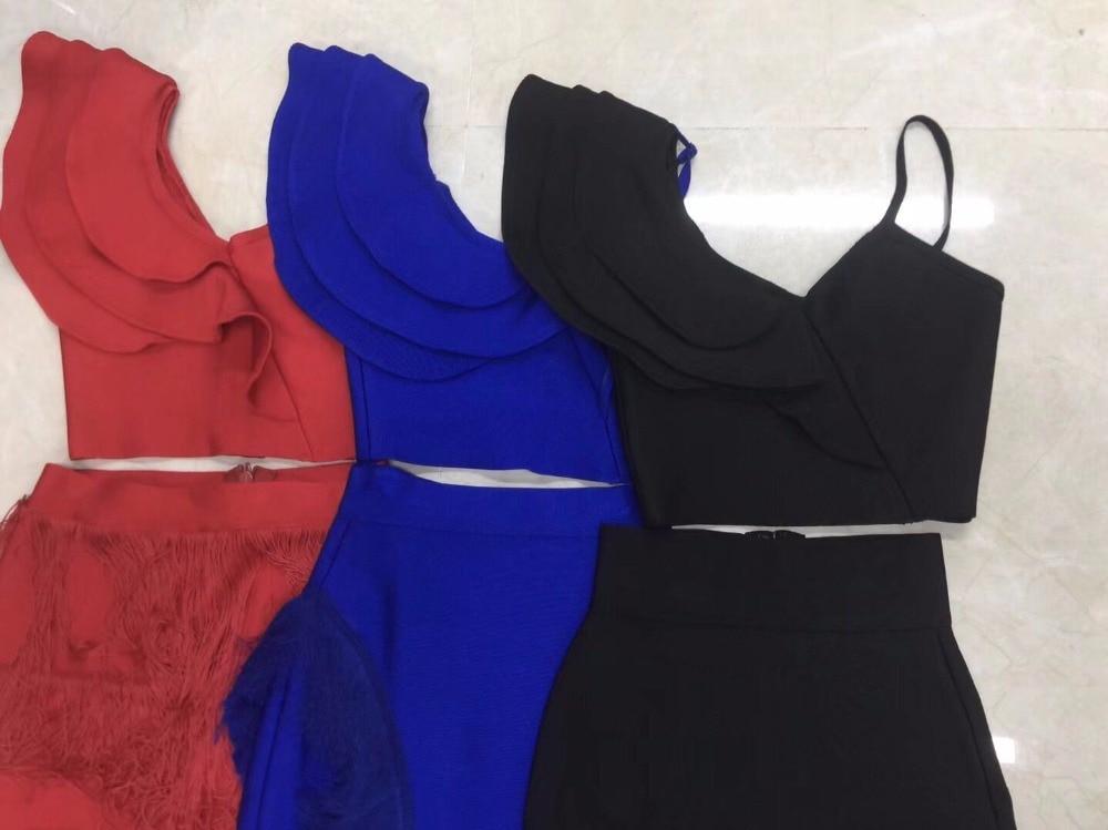 Moulante 2 2018 Rouge Une Bandage Deux Manches Pièce Vertidos Sans Épaule Femmes Bleu Sexy Genou Gland Verano Robe longueur Noir qFCZFIwrnx
