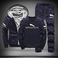 Warm Sport Suit Men 3 Pieces/Set Winter Sportsuit 2019 New Thermal Hoodies Sets Fleece Tracksuit Windproof Gym Run Sportswear