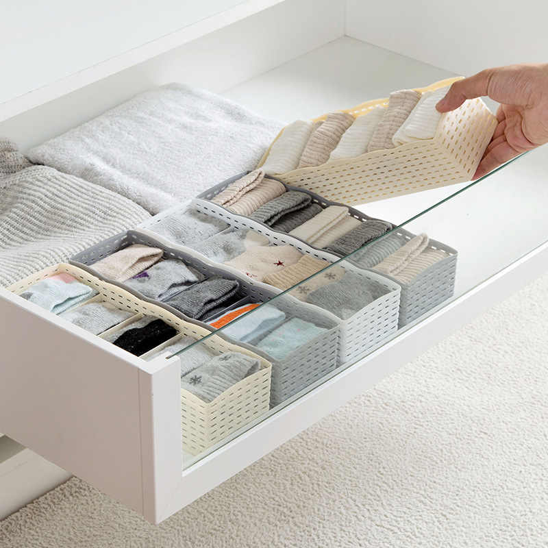 LASPERAL 5 Grids Storage Basket Wardrobe Organizer Women Men Storage Box For Socks Underwear Plastic Container Makeup Organizer