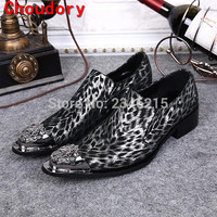 20167 Grey Sexy Leopard Men Shoes Pointed Toe Espadrilles Slip On Sapatilha Flats Wedding Shoes High