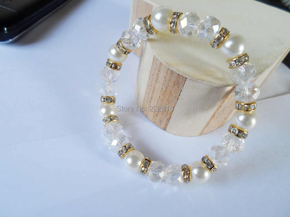 2019 new type white pearl crystal bracelet & bangle gold-color in jewelry,good quality set auger pearl bracelet