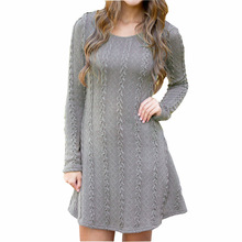 Big Size 2018 New Spring Fashion Plus Size Women Clothing Knitted Dress Casual Long Sleeve Dresses Loose Mini Sweater Dress 5XL