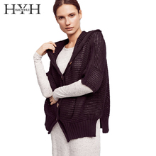 HYH HAOYIHUI 2017 New Women Solid Color Cardigans Casual Hooded Half Sleeve Sweater Female Single Button Side Split