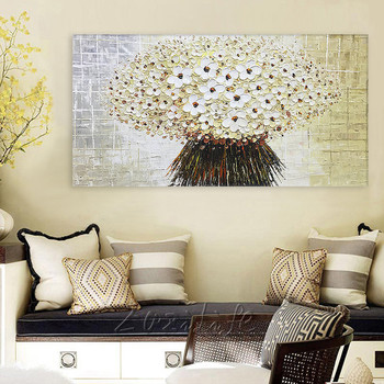 Canvas Painting palette knife 3D texture acrylic Flower painting Wall art Pictures For Living Room home decor cuadro decoracion7