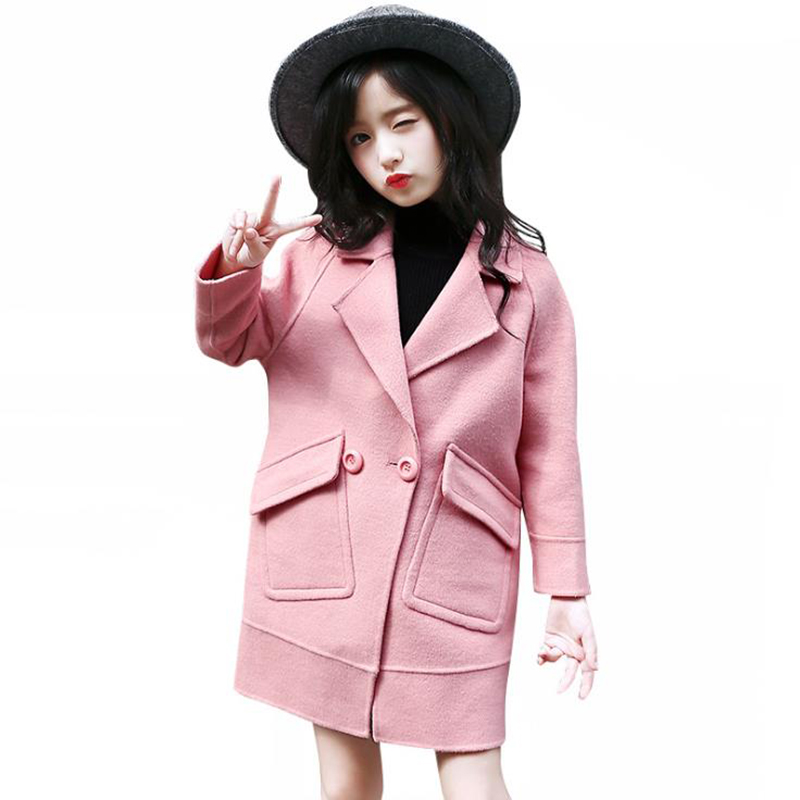 how to orders new concept real quality Girls Wool Coat Children's Clothing 2018 Winter Autumn Warm Velvet Thick  Long Section Woolen Jacket For 6 8 10 12 14 Years