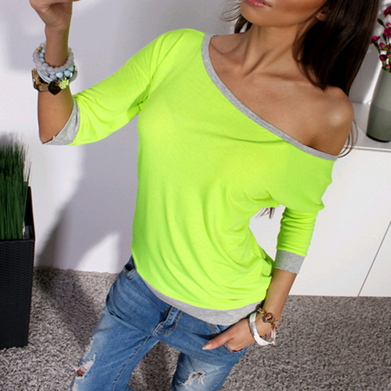 2018 Summer Fashion Women One Shoulder Loose T-shirt Contrast Color Sexy Off Shoulder Shirt