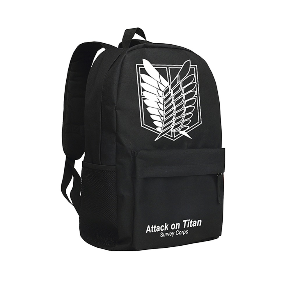 Zshop Cool Backpacks for Teenage Boys Attack on Titan Japan Anime School Bags Eren Jaeger Bookbags High School Students anime attack on titan mini messenger bag boys ataque on titan school bags mikasa ackerman eren shoulder bags kids crossbody bag