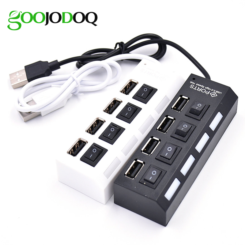 Slim 4 Ports USB Hub 2.0 Switch USB 2.0 Hub High Speed USB Splitter Cable with Power Adapter Interface For Macbook Air Laptop PC orico usb hub 20 usb ports industrial usb2 0 hub usb splitter with 2 models data transmission ih20p