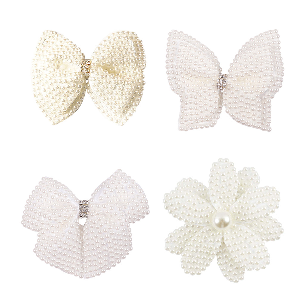White Pearl Hair Bows With Hair Clips For Girls Kids Boutique Layers Bling Rhinestone Center Bows Hairpins Hair Accessories in Hair Accessories from Mother Kids