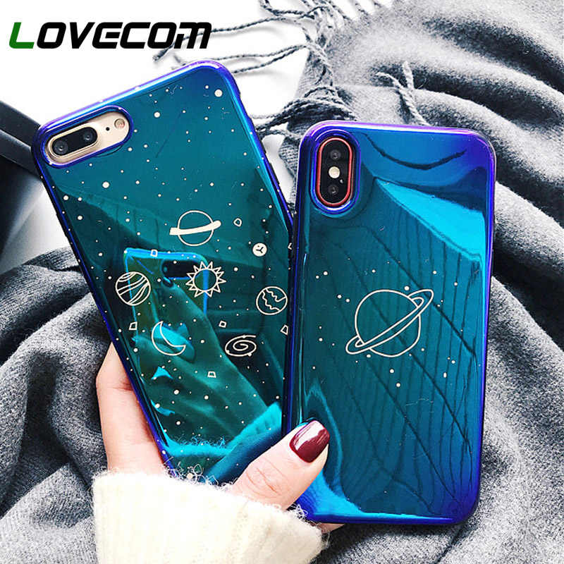 LOVECOM Universe Planeet Case Voor iPhone XS XR XS Max X 8 7 6 6S Plus Retro Blu-Ray Mode cartoon Telefoon Back Cover Cases Gift
