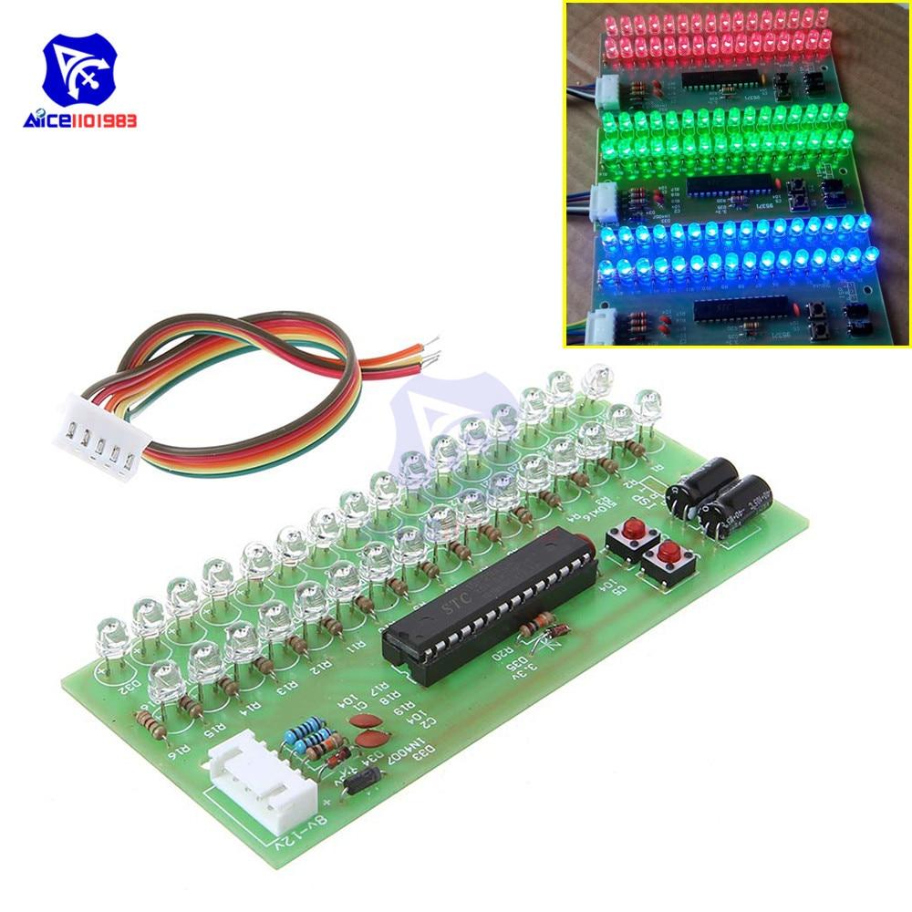 Solderless 16 LED Dual Channel Audio Level Indicator Amplifier Lamp Blue/Green/Red LED Light DC 8 -12V VU Meter Module