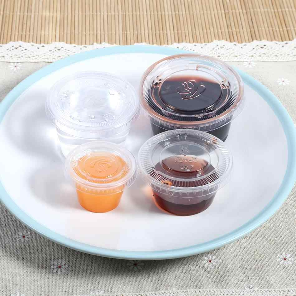 50Pcs/set Disposable Sauce Chutney Cups Boxes With Lid Food Takeaway Storage Boxes Plastic Food Container