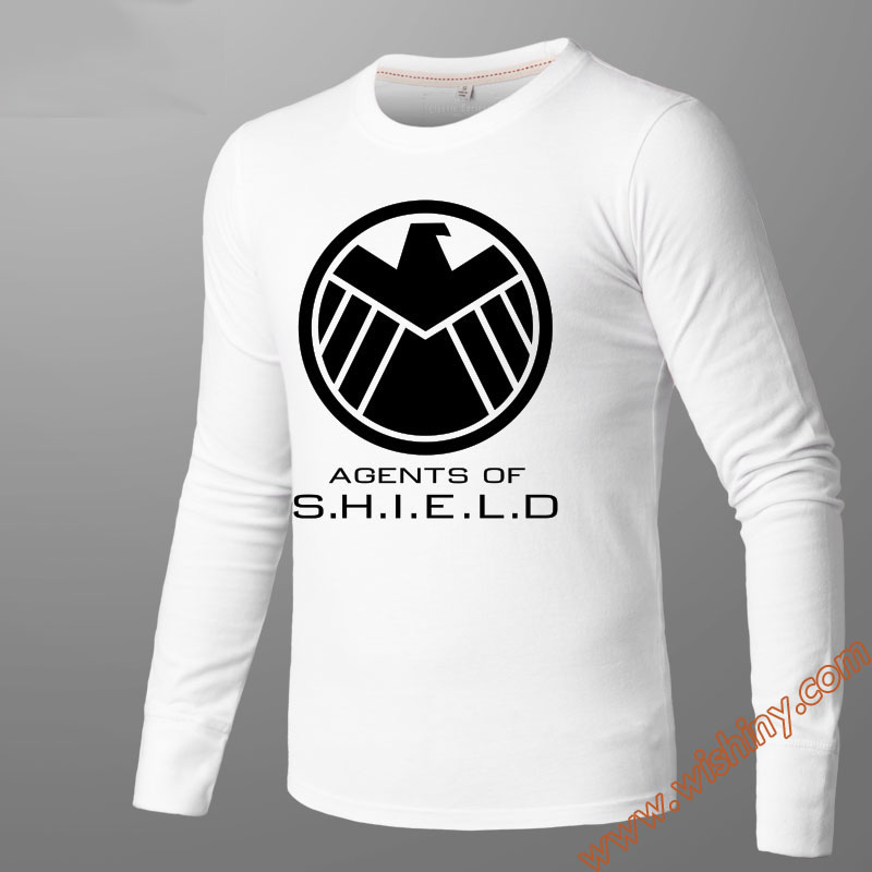 Agent Shield Long Sleeve Tshirts Luminous Tees Unisex Slim Fit Winter Inside Wear T Shirts Black M