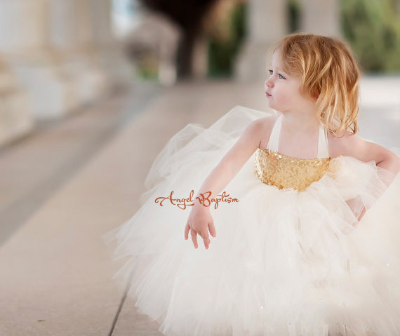 38e9018a060 New Cute Golden sequined white tulle Flower Girl Dress baby little girls  ball gown dresses