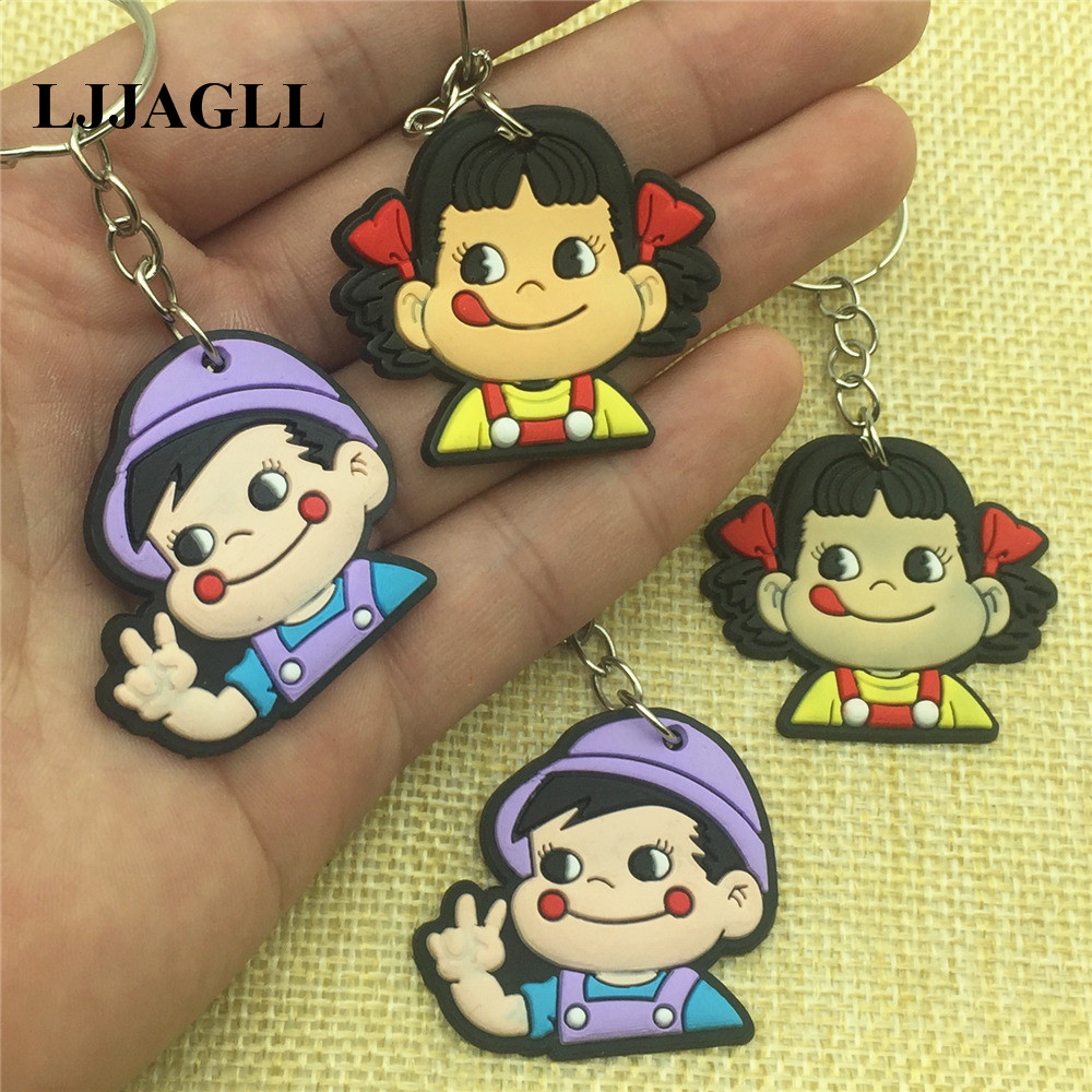 Cartoon Anime Peko Poko Keychain Key Cover Fujiya Co Kids Straps 10pcs/lot PVC 37*90mm Holder Phone Hangings ACT016