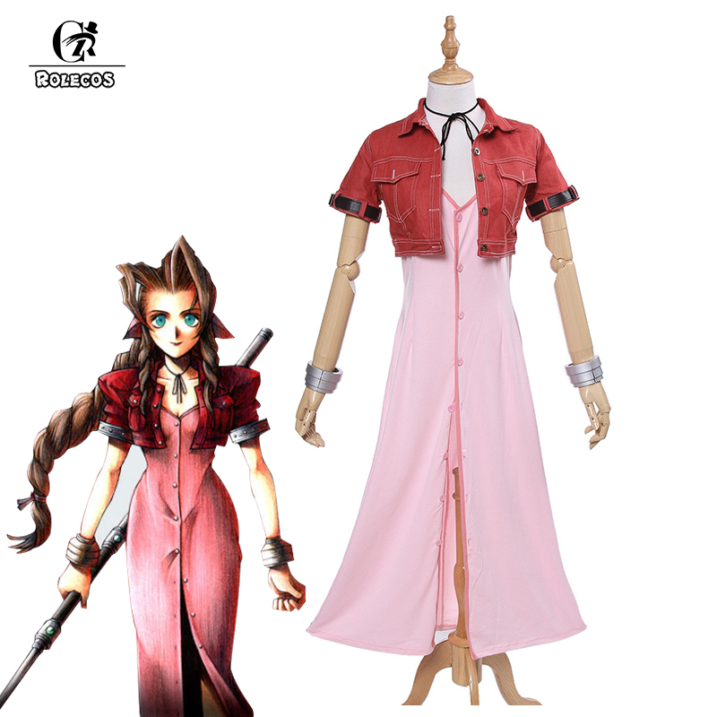 Rolecos Final Fantasy VII Aeris Cosplay FF7 Aerith Cosplay Costume Brand Game Cosplay Full Set