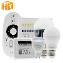 Mi Light 2.4G AC86-260V E27 6W Wifi  RGBW LED Ball Bulb Lamp Wireless Color/Brightness/Temperature Dimmable Adjustable,1pcs/lot milight 2 4g wireless e27 6w rgbw led spotlight dimmable bulb lamp 86 265v