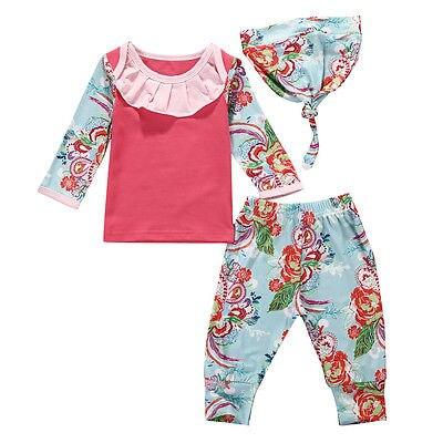 Baby Girl Clothing Flower Print autumn spring Tshirt Pant Headband 3PCS Set infant toddler Girl Clothes Set Purple Roupa De Bebe