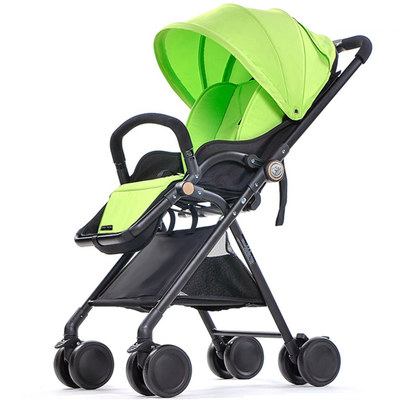 Fashion Light Children Umbrella Cart, Pushchair, Portable Baby Stroller Can Sit and Lie Down, 4 Wheels Suspension Folding  A12 light foldable baby stroller 3 in 1 cozy can sit and lie lathe umbrella car stroller carry bag 4 colour three wheels single seat