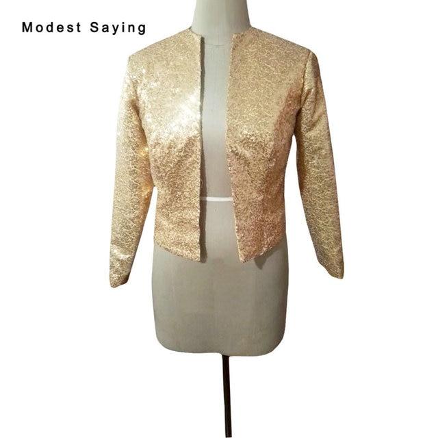 888482aa99 US $54.0 10% OFF|Aliexpress.com : Buy Luxury Gold Shiny Long Sleeve  Sequined Bridal Jackets 2018 Shrugs Formal High Quality Wedding Coats  Boleros ...
