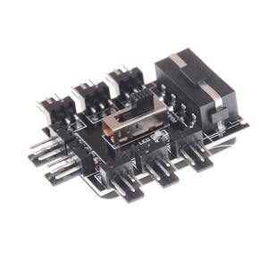 Image 5 - Od 1 do 8 Way Splitter chłodnicy Hub wentylatora chłodzącego 3pin 12V gniazdo zasilania gniazdo Adapter PCB 2 poziom kontrola prędkości komputer stancjonarny IDE Molex