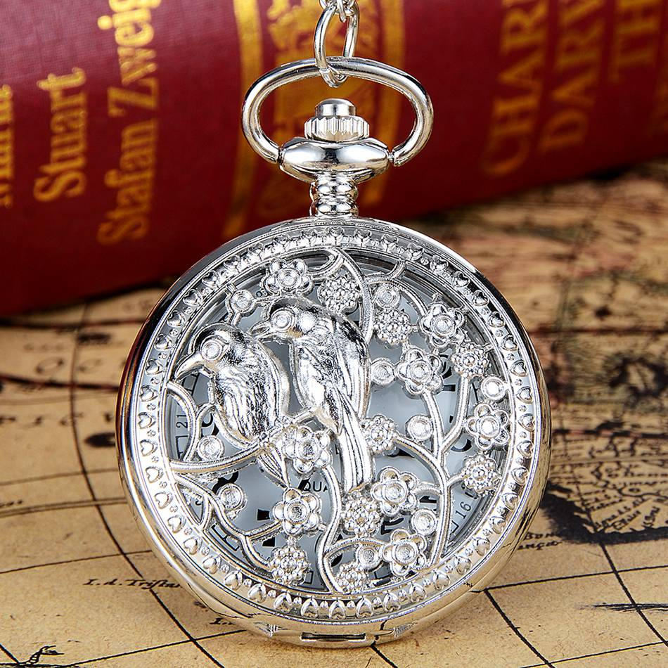 Retro Fashion Silver Pocket Watches Necklace Pendant With Chain Luxury Unisex Quartz Watches Men Women Watch Reloj De Bolsillo