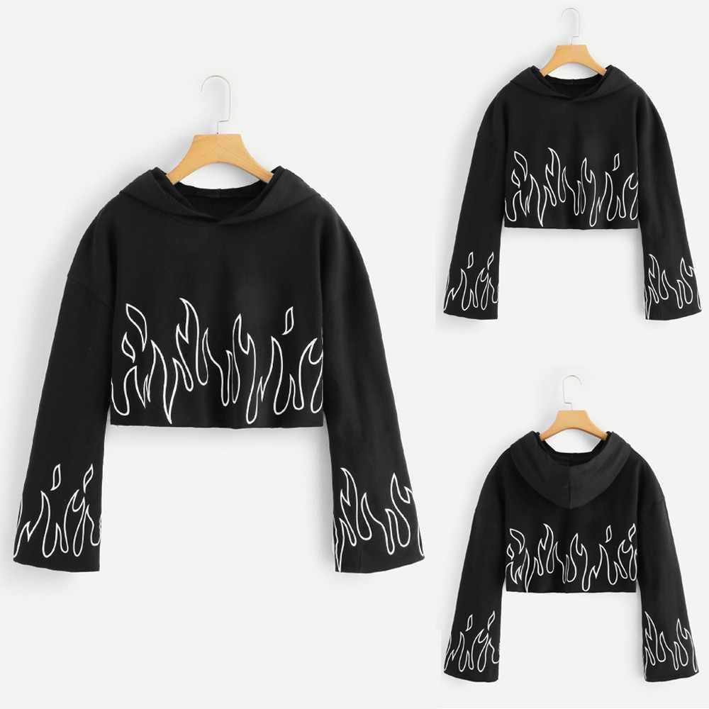 KANCOOLD bluzy kobiety jesień płomień drukuj z długim rękawem luźne Top sznurek Raglan bluza luźny pulower dres PJ0815