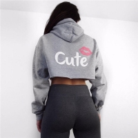 Fashion Casual Women Tops Cropped Hoodies Sweatshirt Jumper Gray Cute Mouse Pattern Girl Sporting Pullovers Black
