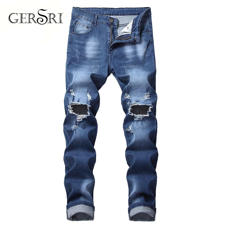 Gersri Mens Biker Demin Jeans Stretch Destroyed Ripped cowboy pants printed pocket Design Fashion soft Skinny hole Jean for male