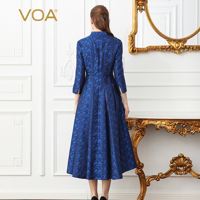 VOA 2018 Spring Navy Blue Vintage Plus Size High Waist Slim Silk Party Dress Heavy Silk Jacquard Women Tunic Long Dress A131 2