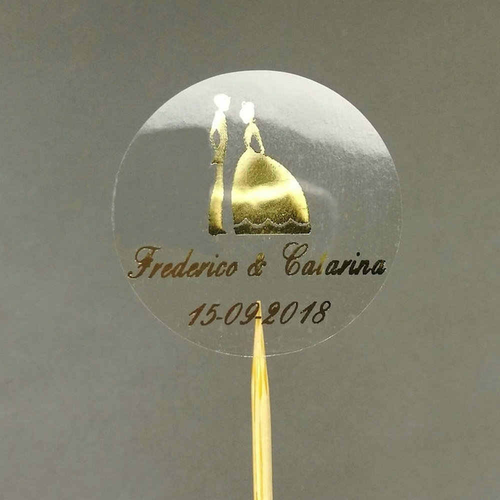 50pcs customize personalised clear bride and groom wedding