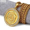 AGOOD Hiphop Rock gold statement long necklaces & pendants for men maxi women Free-Mason G symbol colar collier femme steampunk