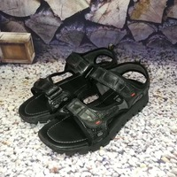 2018 new fashion 100% Genuine real crocodile skin men summer sandal shoe durable solid crocodile skin men beach shoe black