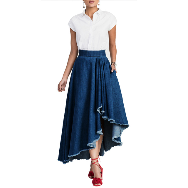 720527546 Women High Waist Denim Skirt Large Hem Ripped Fringe High Low Asymmetrical Maxi  Skirt Elegant Fashion Long Blue Jean Skirt