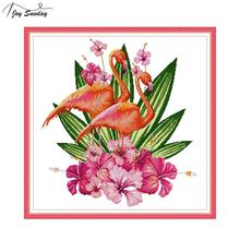 Joy Sunday Flamingo Cross Stitch Kit Animal Patterns DMC 11ct 14ct Aida Canvas for Embroidery DIY Hand Needlework Home Decor
