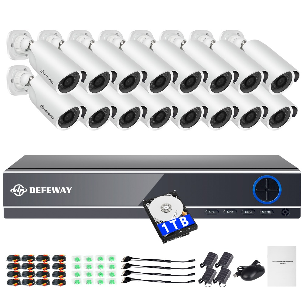 DEFEWAY HD 16CH 1080P CCTV Security System 16PCS 2000TVL IR AHD 1080P Video Surveillance 2.0MP Security Cameras CCTV Kit 1TB HDD цена
