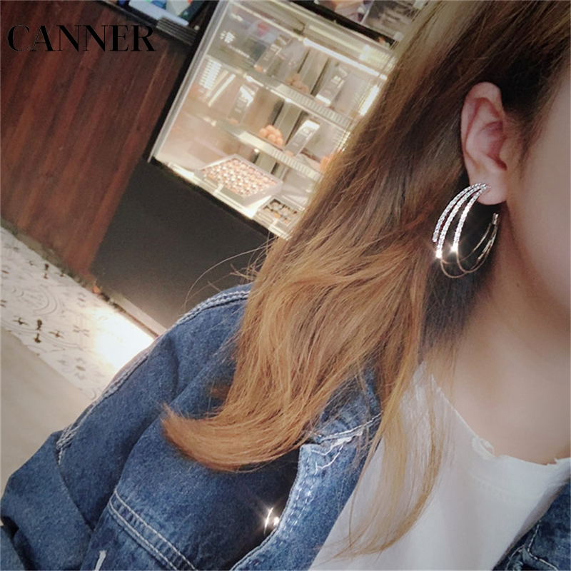 Canner Fashion Women Jewelry Multilayer Round Hoop Earrings Shining Gold Silver Color Rhinestone Earrings For Wedding Party R4