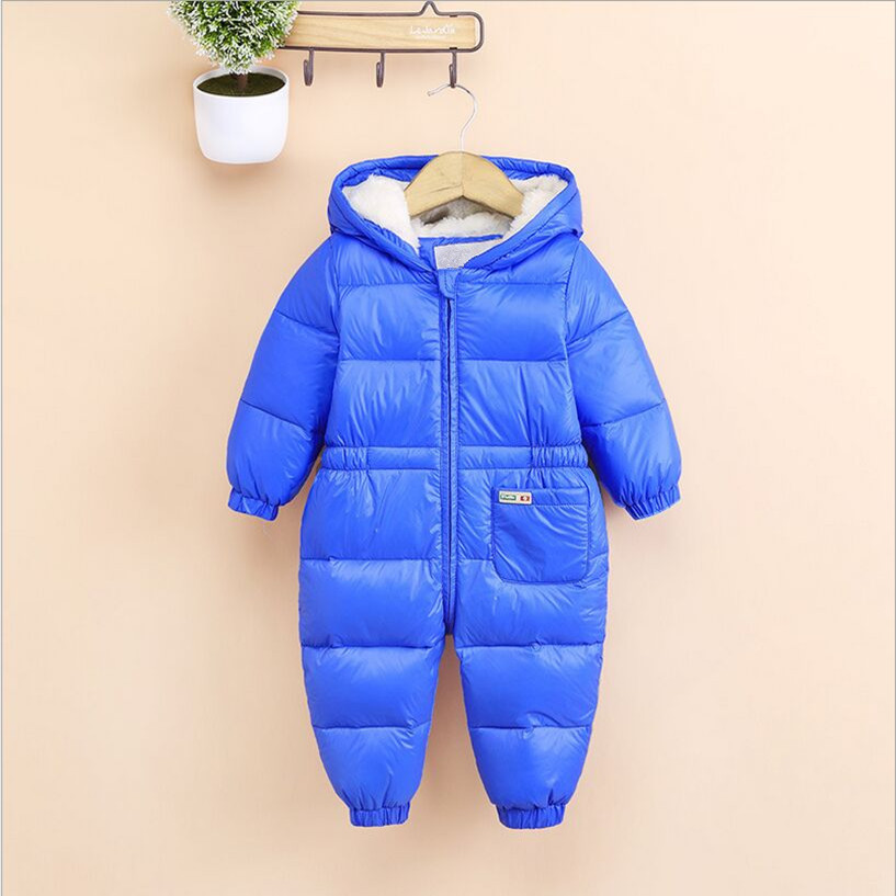 2017 New Winter Romper Newborn Baby Girls Rompers Down Long Sleeve Hooded Baby Rompers Dark Blue Orange Blue Red 0-6 Month baby race romper ruffle rompers for baby children xxl blue xxl dark purple xxxl rose xxxl black total $29