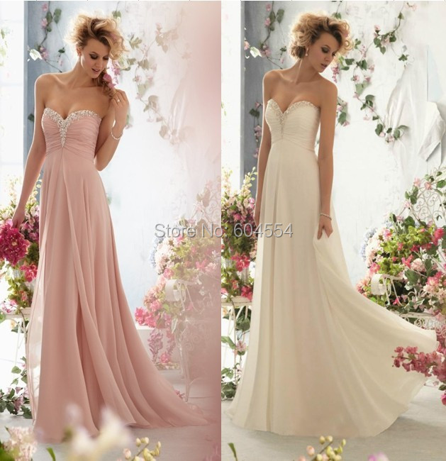 2016 chiffon pink light champagne bridesmaid dress in for Champagne pink wedding dresses