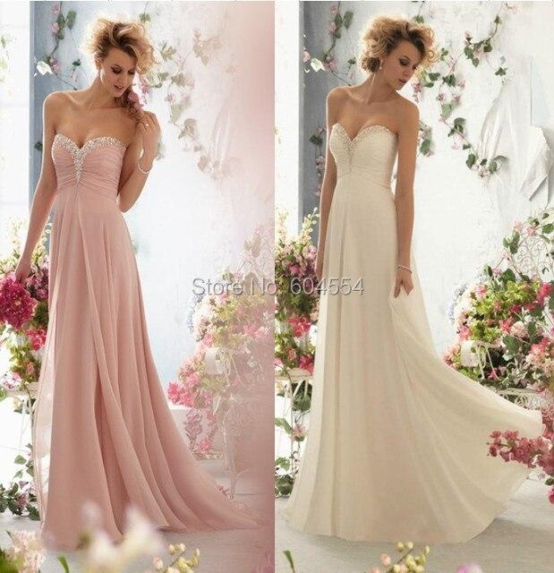 2017 Chiffon Pink/Light Champagne Pleat Beading Pearls Long Bridesmaid Dress Custom Made Dress Vestido De Festa Fe Casamento