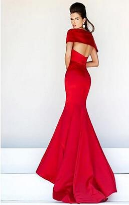Изящные атлас русалка выкл-плечу с круглым вырезом длинная вечернее платье