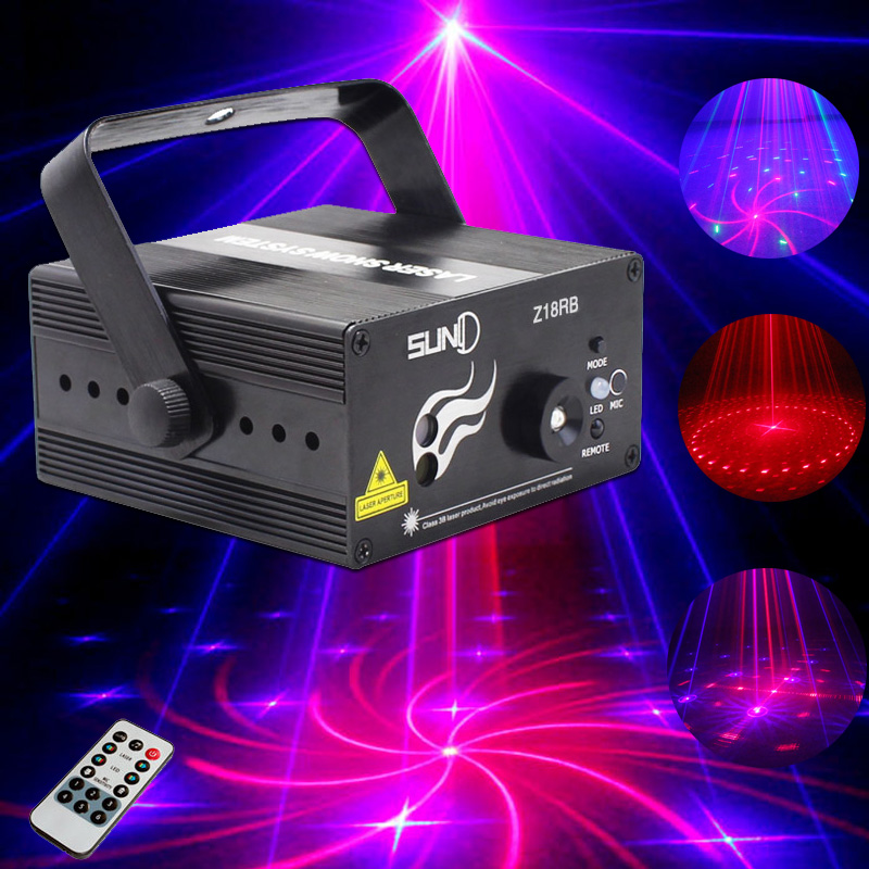 Mini Laser Disco Light LED Stage Effect Lighting 18 Patterns RB Laser Projector lumiere DJ Strobe Music disko Xmas Party Lights atotalof 24 patterns rgb mini laser projector light dj disco party music laser stage lighting effect with led rgb xmas lights