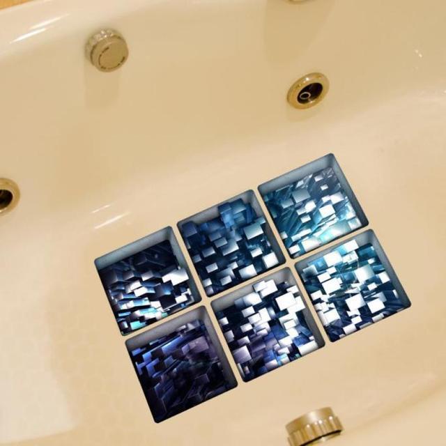 6 pcs 13x13 centimetri di Acqua Modello Ombra 3D Impermeabile Antiscivolo Vasca Da Bagno Sticker m16